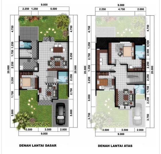 Denah Rumah Minimalis Type 45 Lantai 2