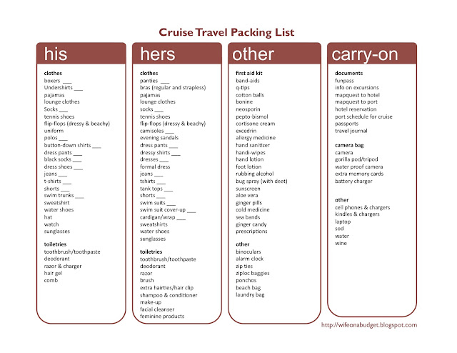 To access the packing list for your own personal use, click here .