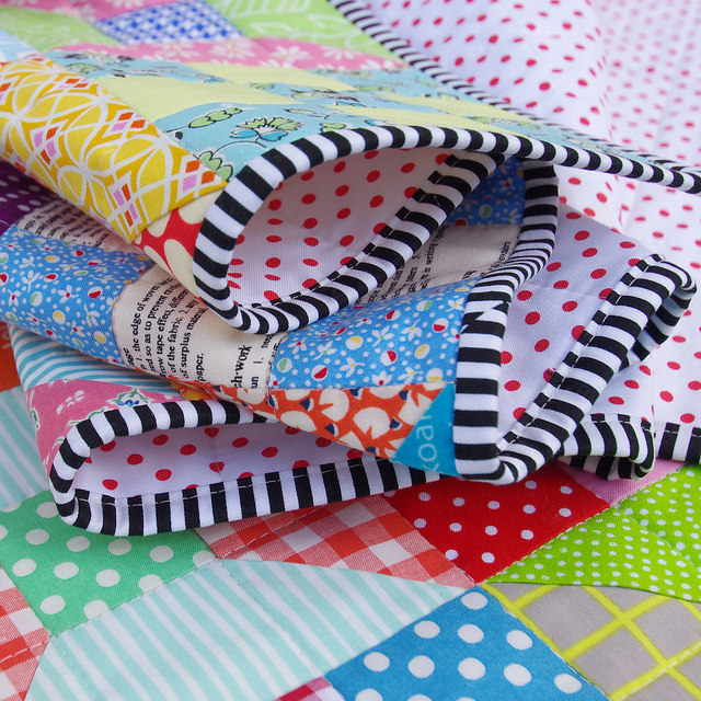 Spools and Nine Patch Quilt - binding | Red Pepper Quilts
