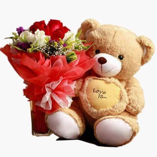 Bunch Of 12 Mix Roses Along With 6 Inch Teddy Bear Cute 10 Red And White Nicely Packed