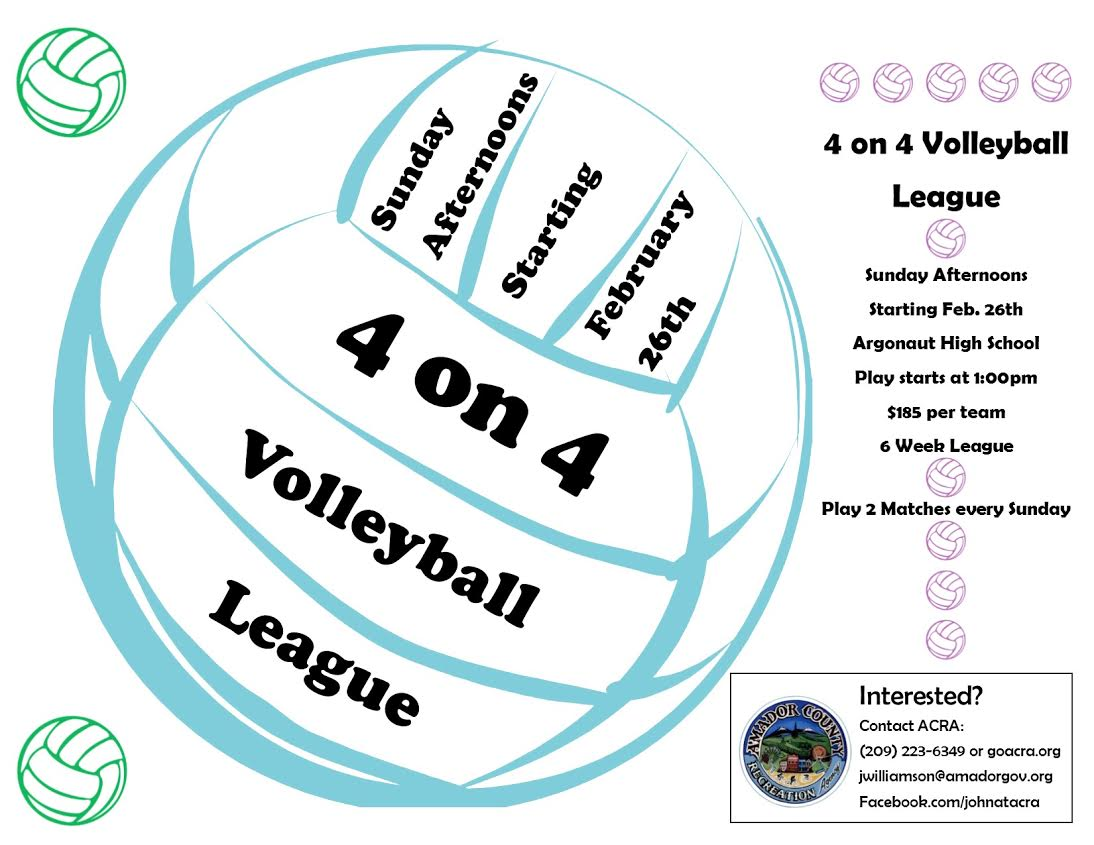 4 on 4 Volleyball - Sun afternoons starting Feb 26