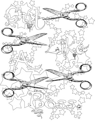 cut like a boss adult coloring page, stefanie Girard