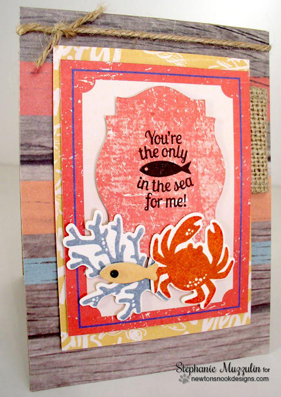 Sea card by Stephanie Muzzulin | Tranquil Tides stamp set & Die set by Newton's Nook Designs #sea #fish #nautical