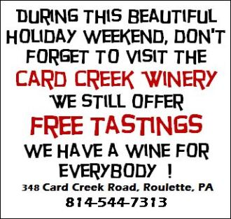 Free Wine Tasting At Card Creek Winery