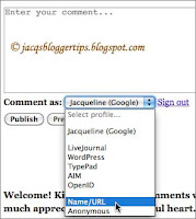 Screenshot to show ID options when commenting on Blogger