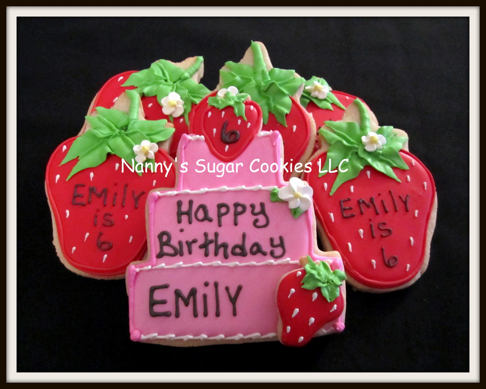 Nannys Sugar Cookies Llc Happy Birthday Cookies For A Strawberry