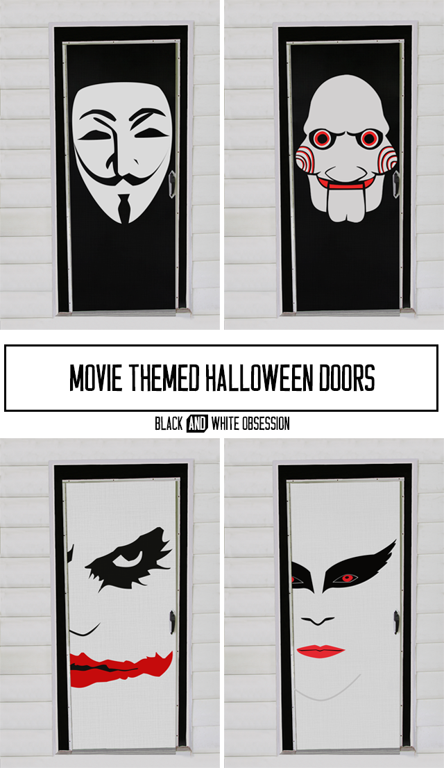 Movie Themed Halloween Door Decorations: V for Vendetta, Saw/Jigsaw, Joker/Batman, Black Swan | www.blackandwhiteobsession.com