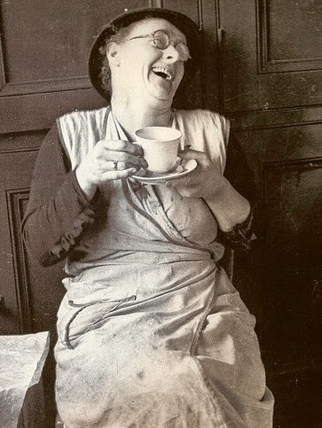 Vintage char lady laughing photo