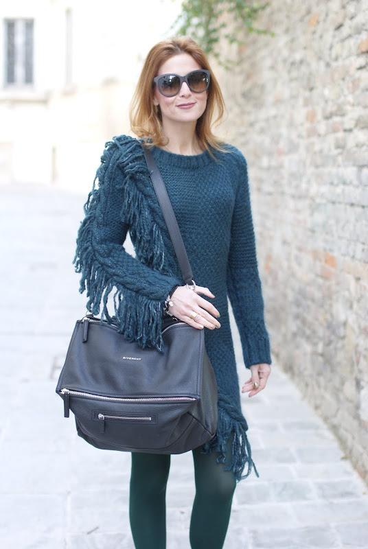 Givenchy Pandora bag, Diesel fringe detail wool dress, Fabi shoes, Fashion and Cookies