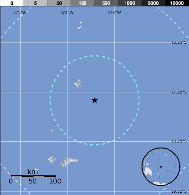 Epicentro sismo 5,7 grados en islas Tonga, 20 de Febrero 2013