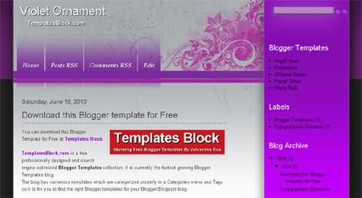 Free Violet Ornament Vector Blogger Template