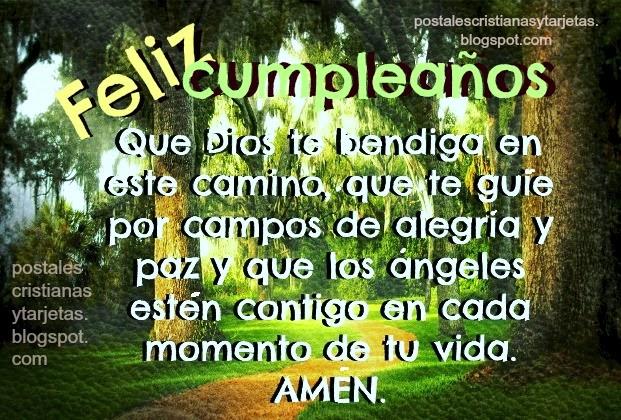 Feliz Cumpleaños Dios te bendiga en el camino. tarjeta cristiana gratis para descargar y felicitar amigo, amiga, hombre, mujer facebook, postales cristianas, imágenes cristianas.