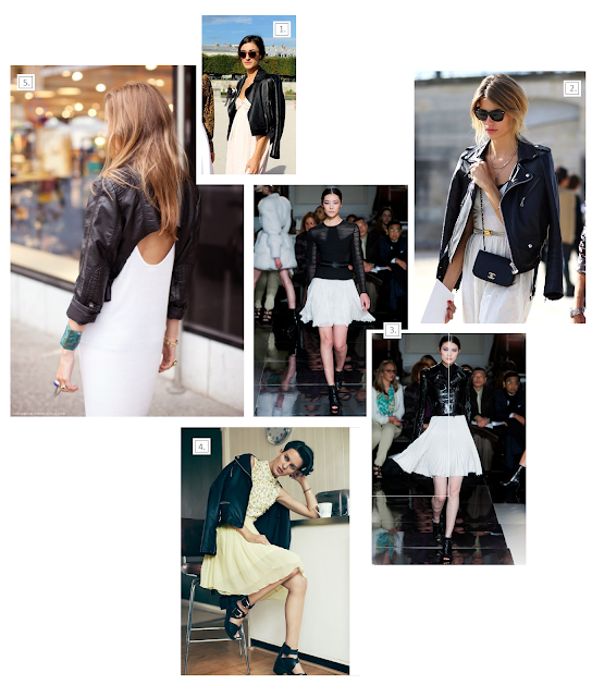 leather jackets white dresses streetstyle