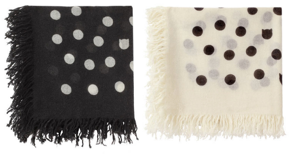Tsumori Chisato black and white dot scarf