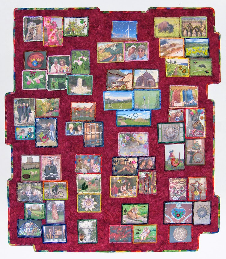 Robin Atkins, Travel Diary2014, finished quilt