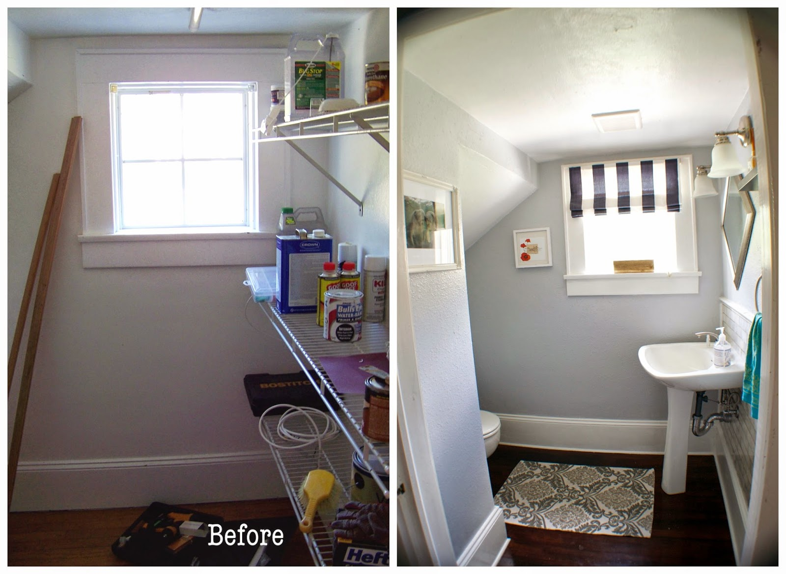 Seesaws and sawhorses bathroom under the stairs finally for Bathroom design under stairs
