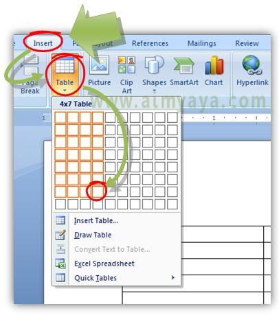 Gambar: Cara mudah membuat tabel di microsoft word