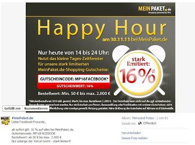 MeinPaket-Facebook-Aktion: 16 Prozent mit MP16FACEBOOK bis 24 Uhr