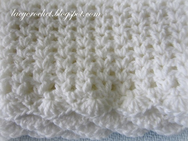 Free Crochet Pattern Lacy Baby Blanket : Lacy Crochet: V-Stitch Baby Afghan with Scalloped Trim