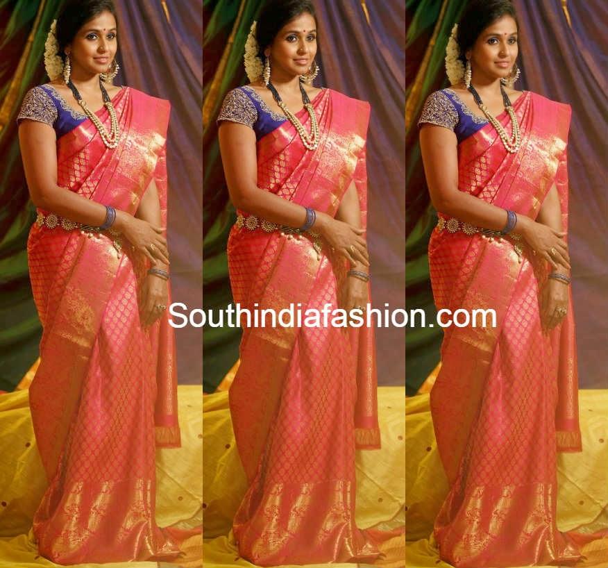 pop singer smitha aalayam silksa saree