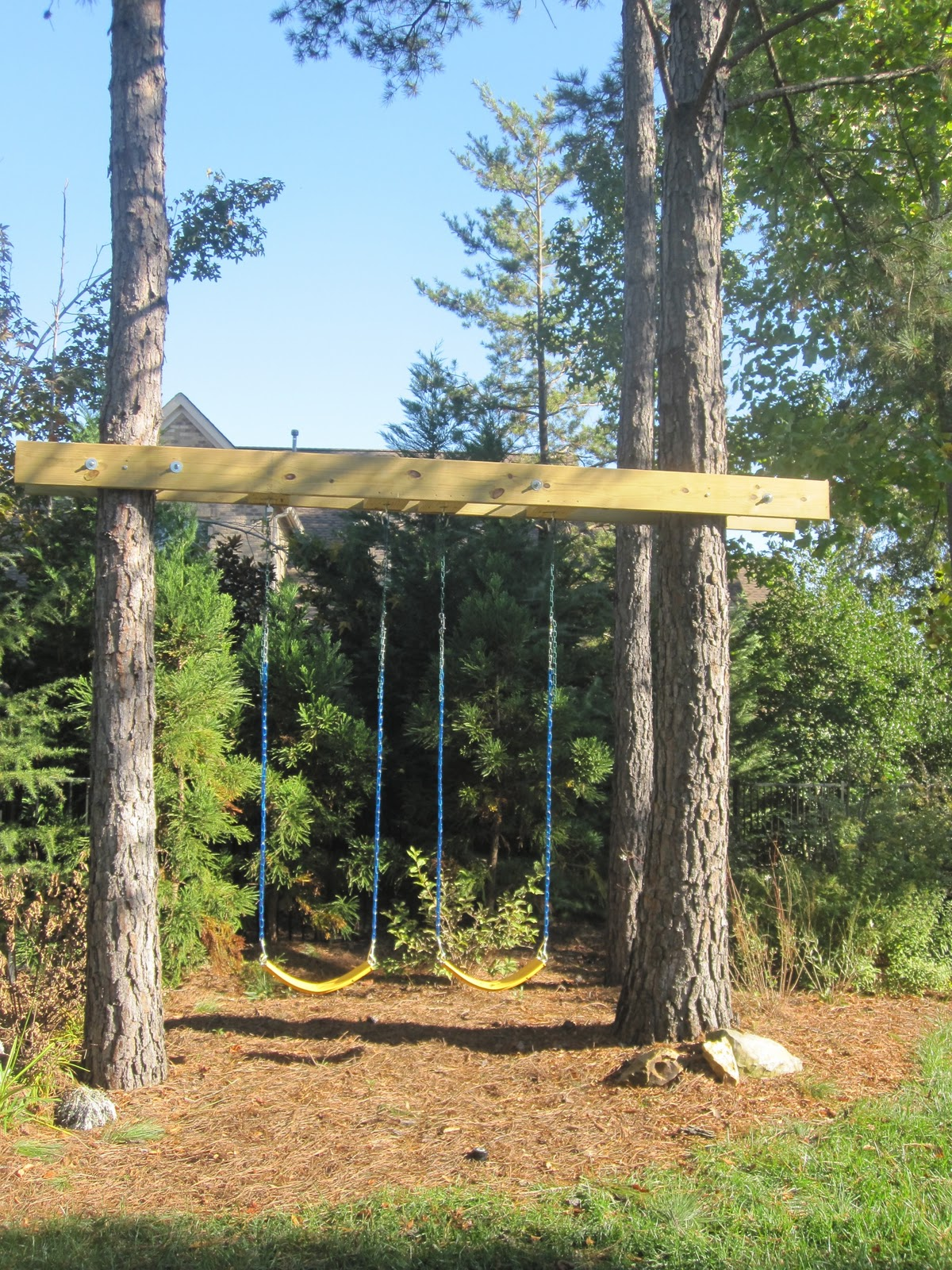 Painted bamboo curtain - Swings In Backyard New House