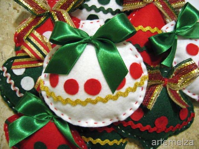 Artesanato Tecido Franzido ~ Blog Dicas de Artesanatos com br Bolinhas de natal feitas em feltro