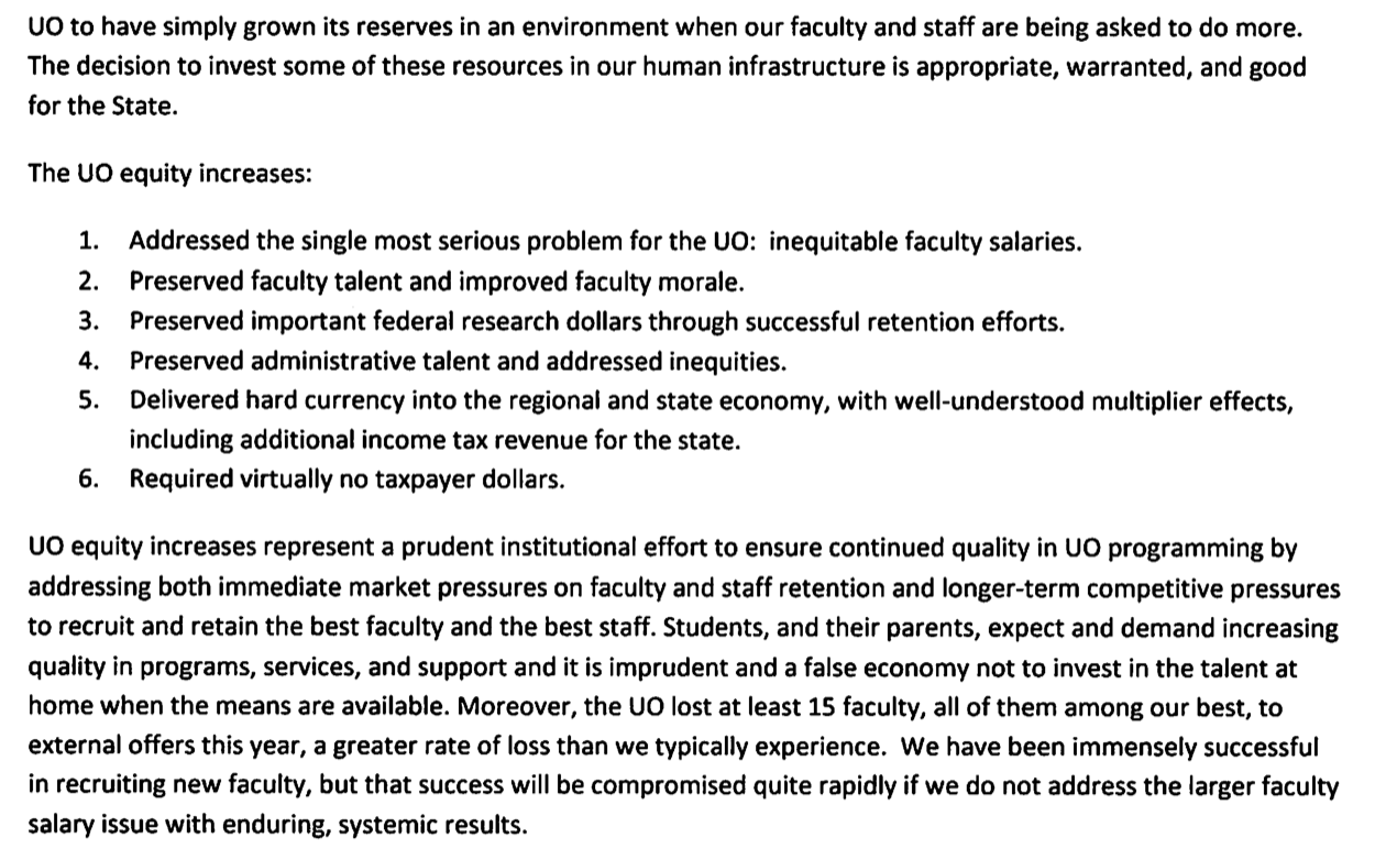union bargaining xiv gottfredson s response is to stall uo matters the salary ze has been history for 2 years pernsteiner leaves in 11 days psu and osu faculty have had raises
