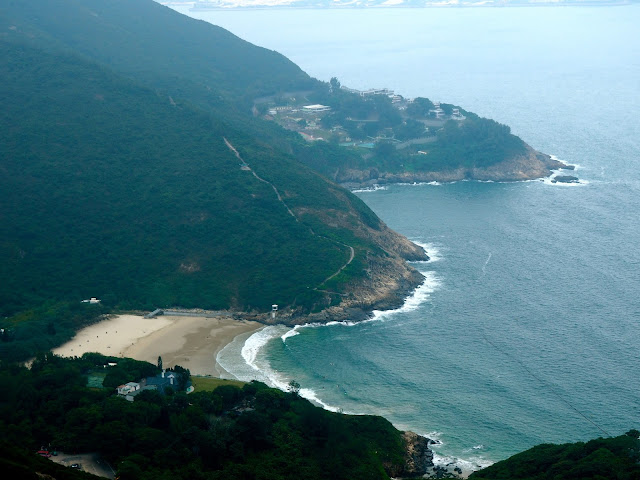 Close up view of Big Wave Bay Beach from Shek O Peak on Dragon's Back trail, Hong Kong Island