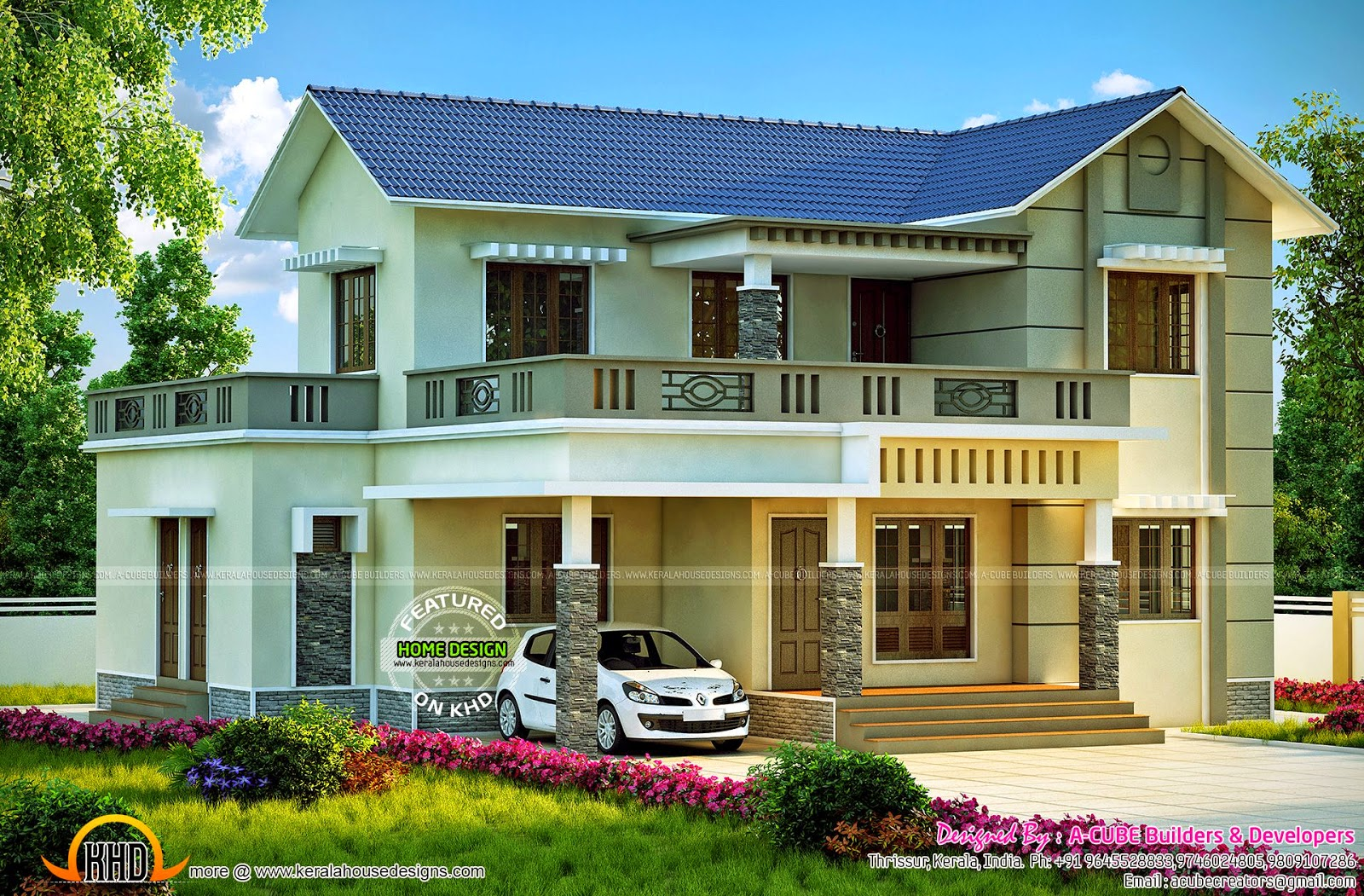 2326 square feet kerala style villa kerala home design for Kerala style villa plans