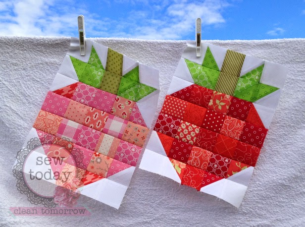 Adorable strawberry quilt blocks