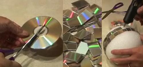 Bola de disco con cd s aprender a hacer manualidades - Manualidades con discos ...