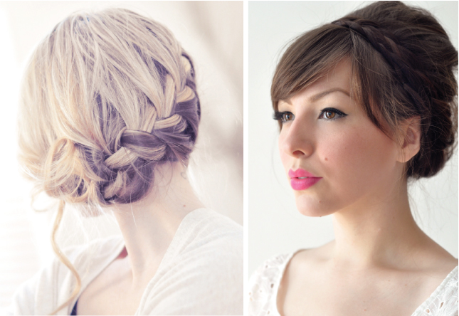 Bridal hairstyle braided up do
