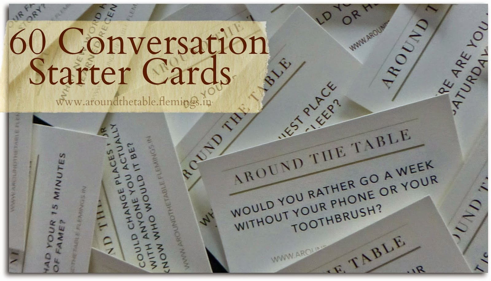 image about Printable Conversation Cards identified as Over the Desk Guide: 60 Printable Interaction Starters