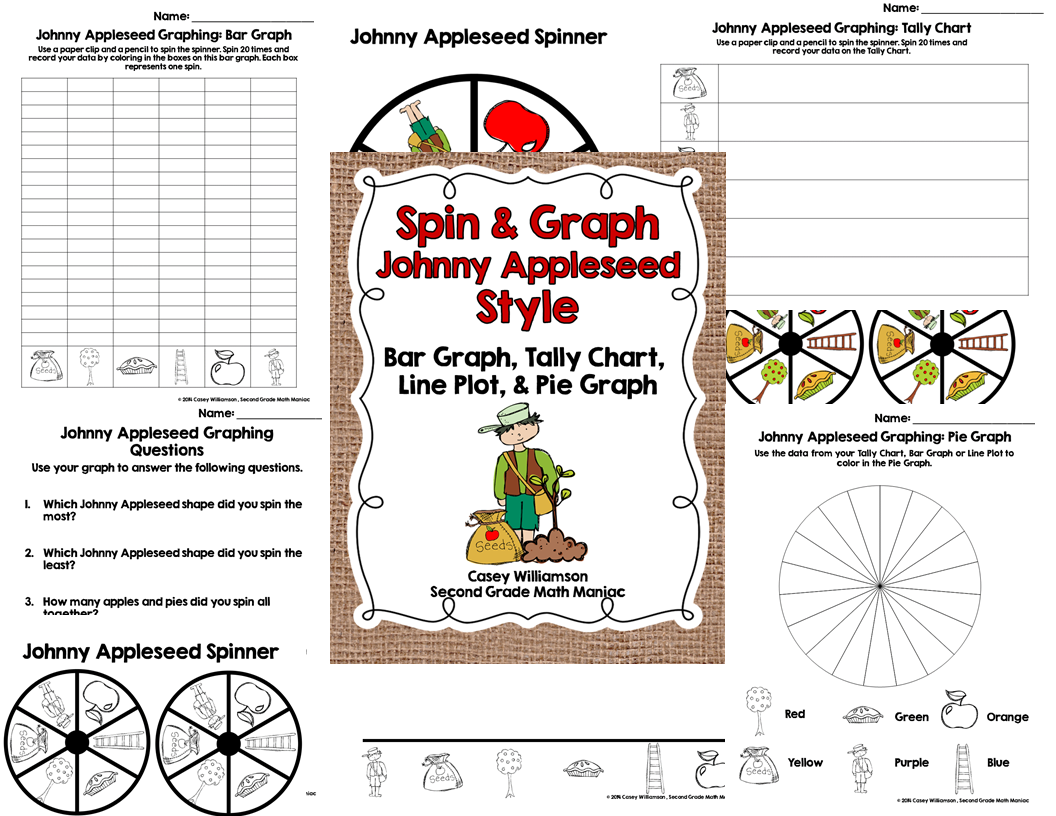 http://www.teacherspayteachers.com/Product/Spin-Graph-Johnny-Appleseed-Bar-Graph-Tally-Chart-Line-Plot-Pie-Graph-1446244
