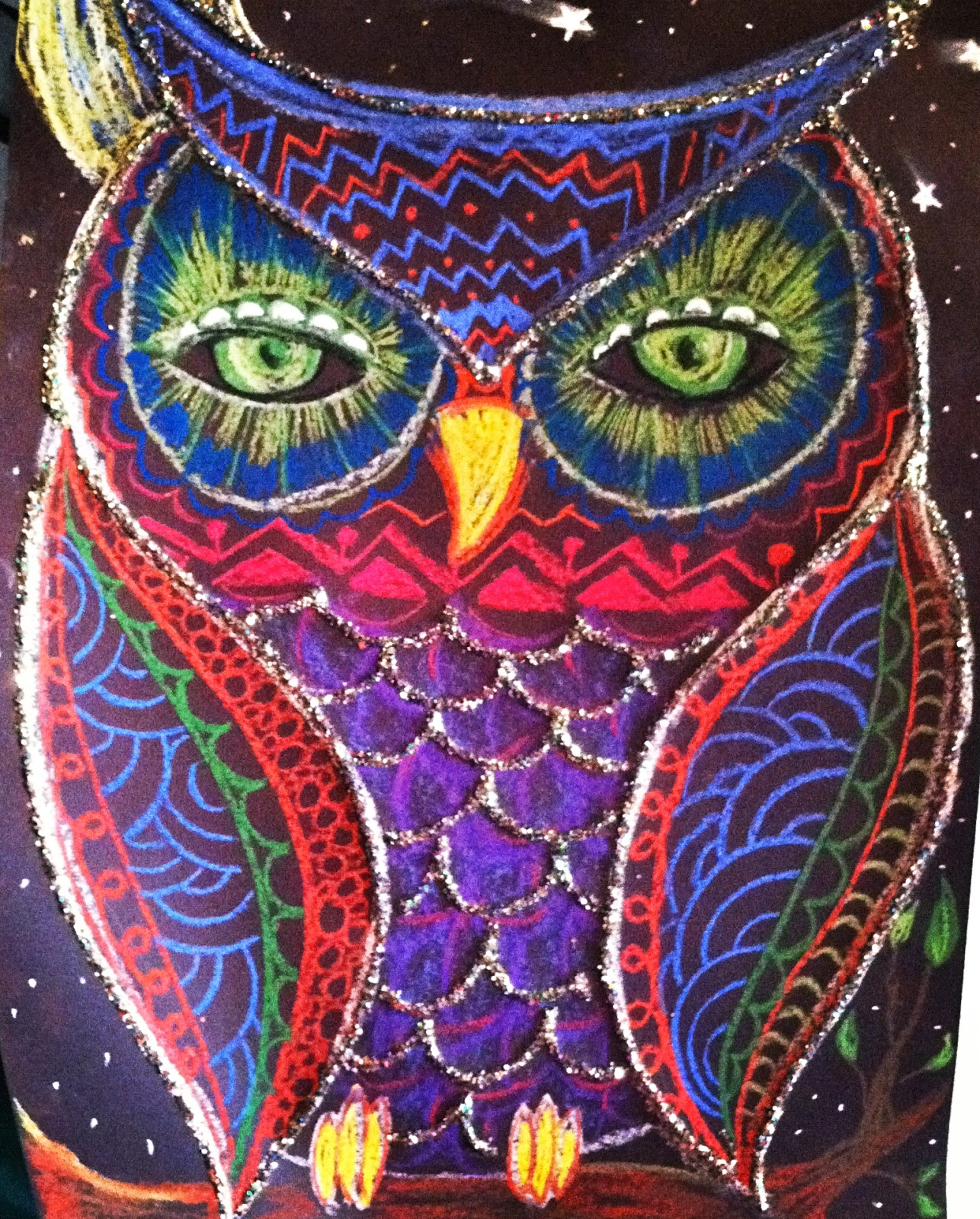 Jackson 39 S Art Room Colorful Owl Pastel Drawings