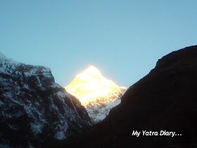 The majestic sight of the Neelkanth peak in the Garhwal Himalayas, Badrinath during sunrise