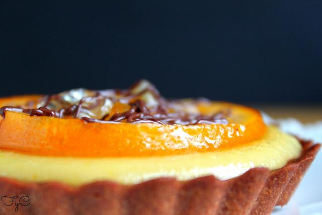 Tartaletas de chocolate y mandarina