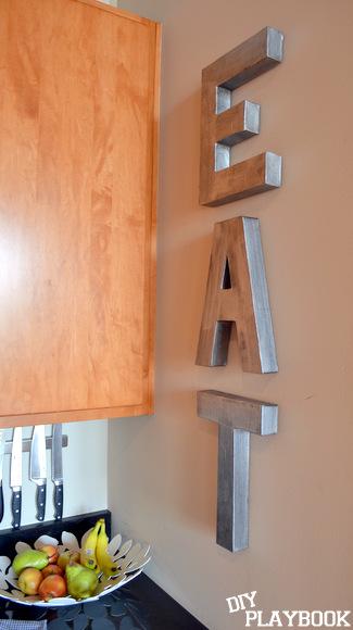 Anthropologie inspired zinc letters spell EAT