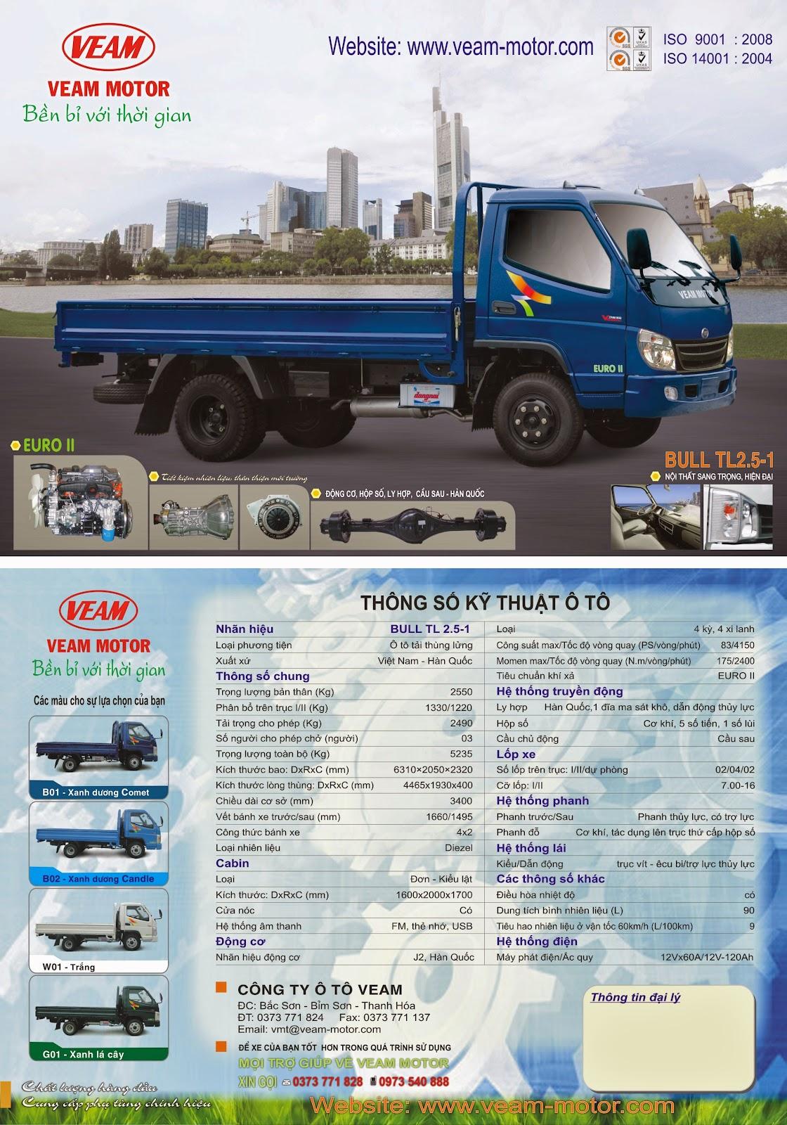 xe tải Veam 2 tấn 5 - Bull TL 2.5-1