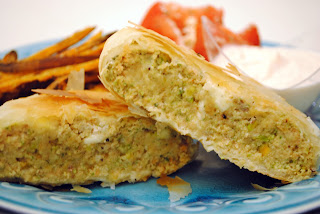 Mediterranean Salmon-Pistachio Pesto Burgers in Phyllo Dough with Spicy Yogurt Dipping Sauce