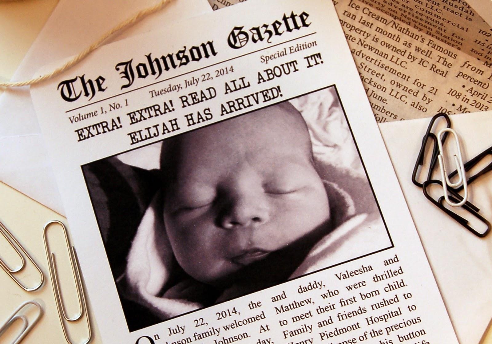 paperlark studio  newspaper inspired birth announcements