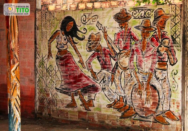 Pintura que representa o Carimbó, na vila do Algodoal, na ilha de Maianeua, no Pará