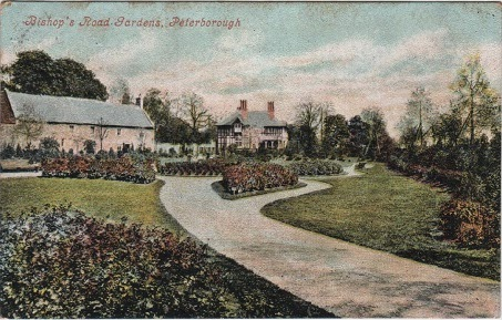 Vintage postcard of Bishop's Road Gardens, Peterborough, Cambridgeshire