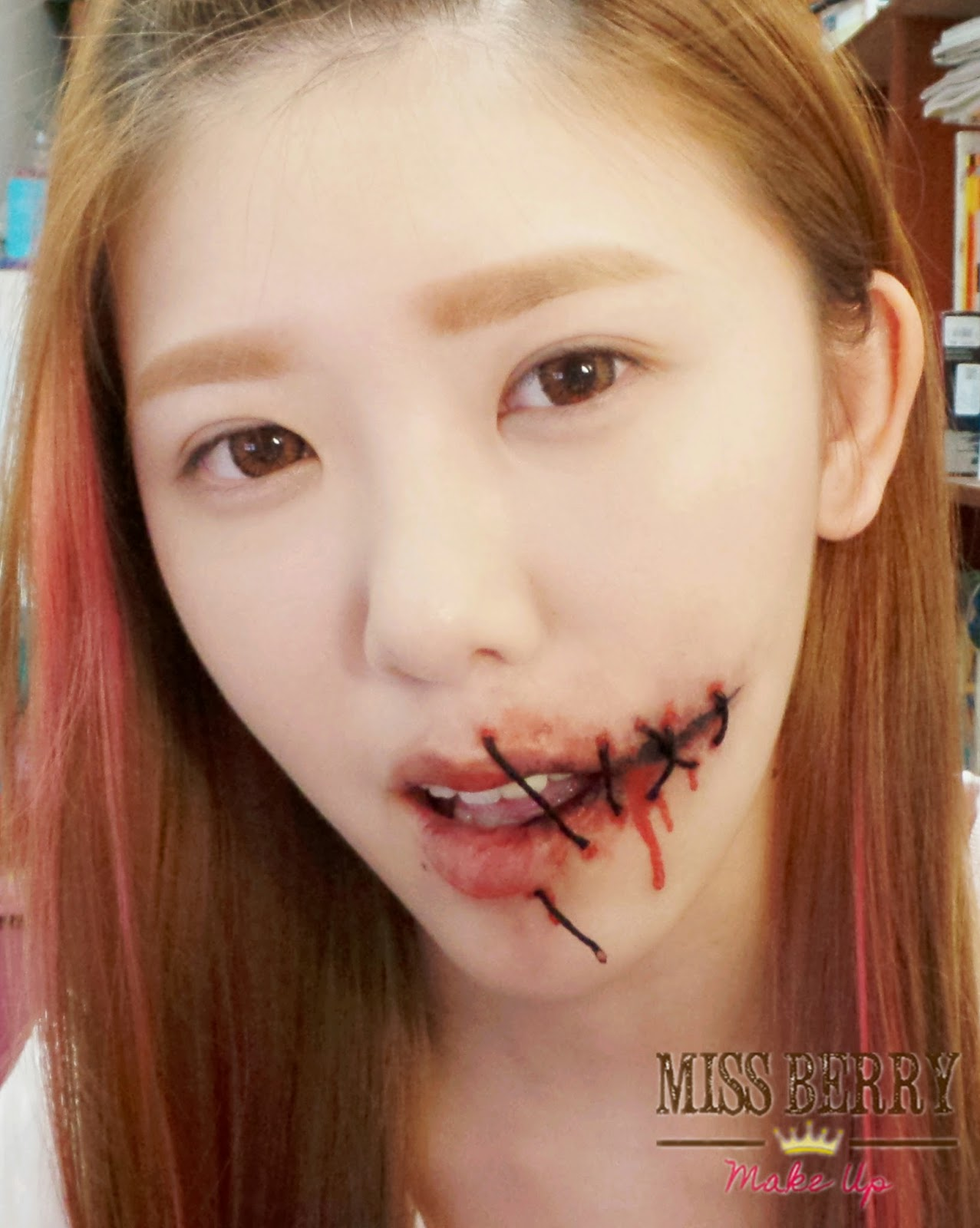 e l l y b e r r y halloween make up tutorial stitched mouth