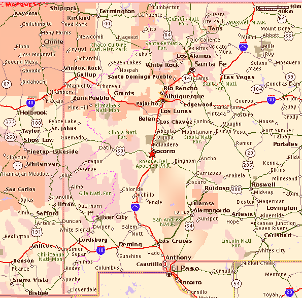 New Mexico Map With Cities And Towns - Map of new mexico towns