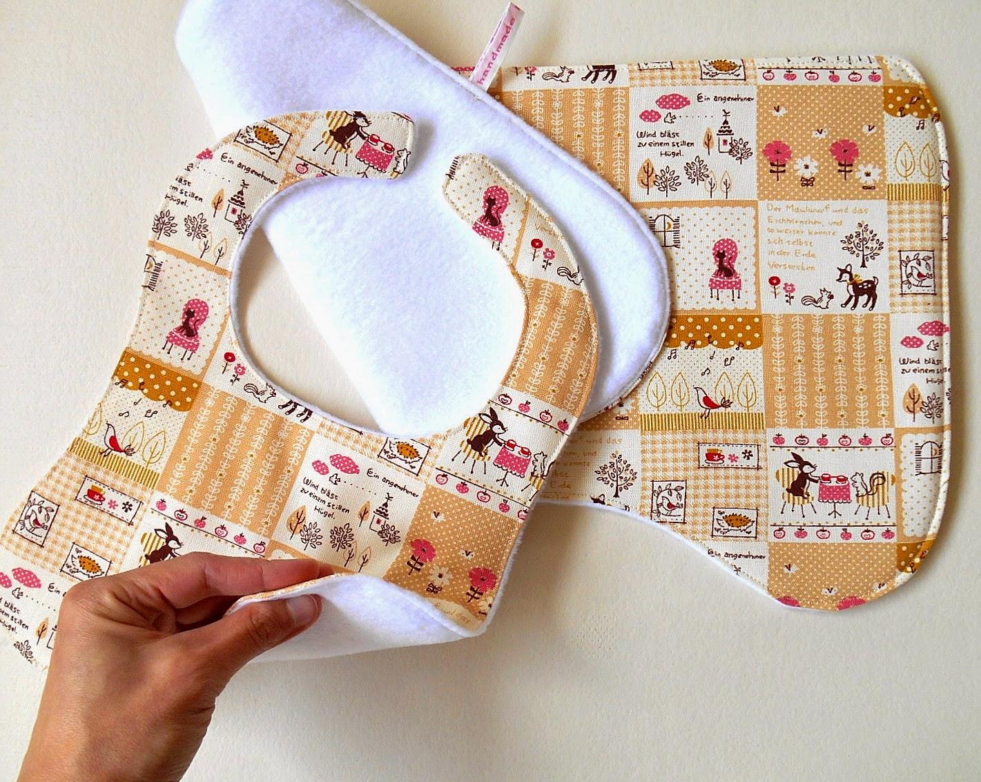 baby gift set fox, deer and hedgehog fabric bib and burp cloth