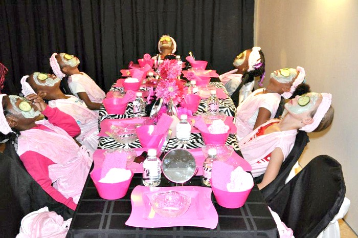 pink zebra spa party table