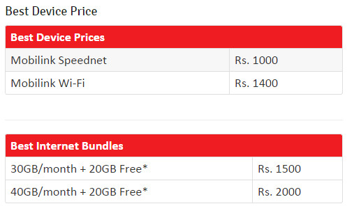 Best Device Prices Mobilink Speednet	Rs. 1000 Mobilink Wi-Fi	Rs. 1400 Best Internet Bundles 30GB/month + 20GB Free*	Rs. 1500 40GB/month + 20GB Free*	Rs. 2000