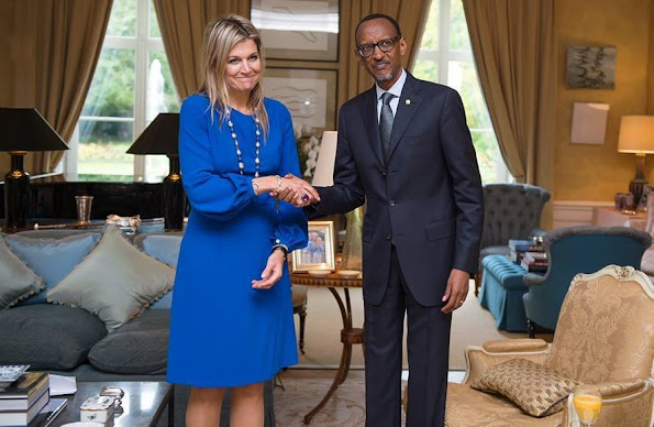 Dutch Queen Maxima, UN special advocate for Inclusive Finance for Development poses with Rwanda's president Paul Kagame at the King's residence De Eikenhorst