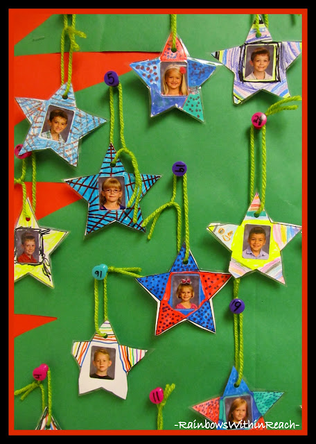 photo of: Christmas Ornament Parent Gift Used to Decorate Bulletin Board via RainbowsWithinReach